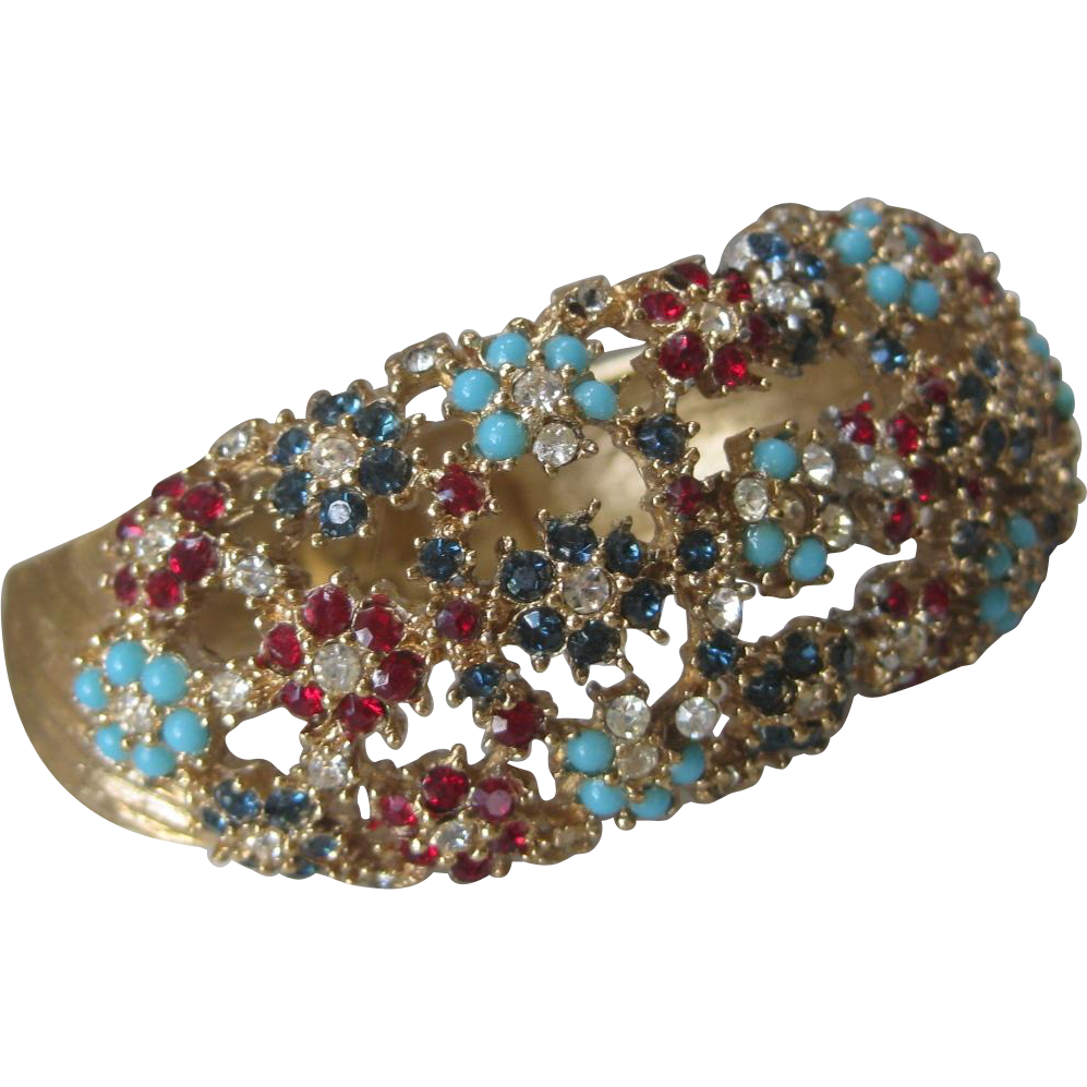 Large Flower Clusters cuff Bracelet Unsigned Ciner