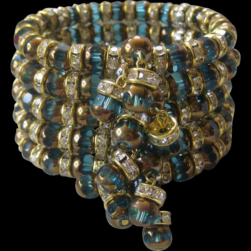 Stunning Hand Made Deep Aqua & Rhinestones Large Designer Cuff Bracelet