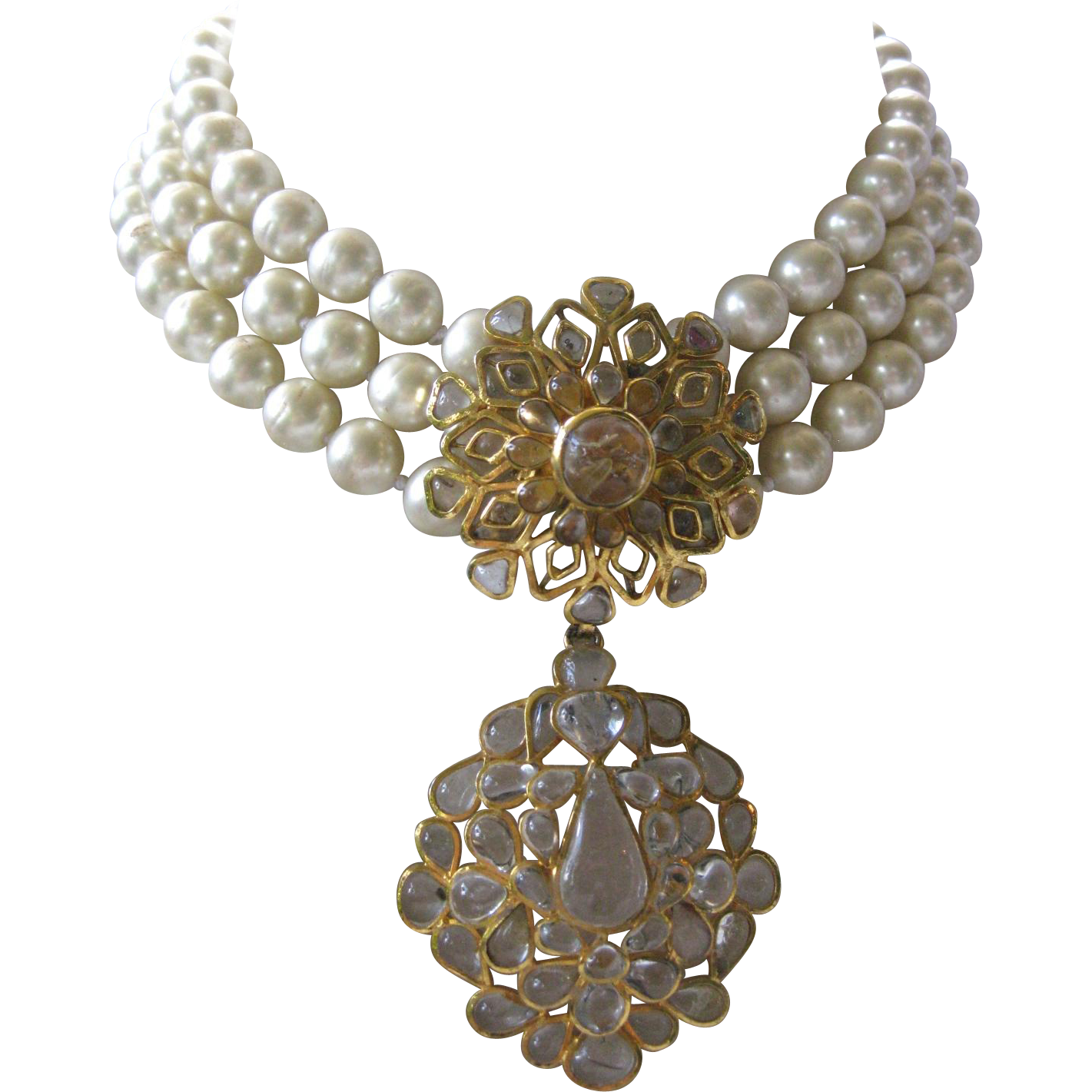 CHANEL Made In France Poured Clear Glass Centerpiece & Glass Pearls Heavy Necklace
