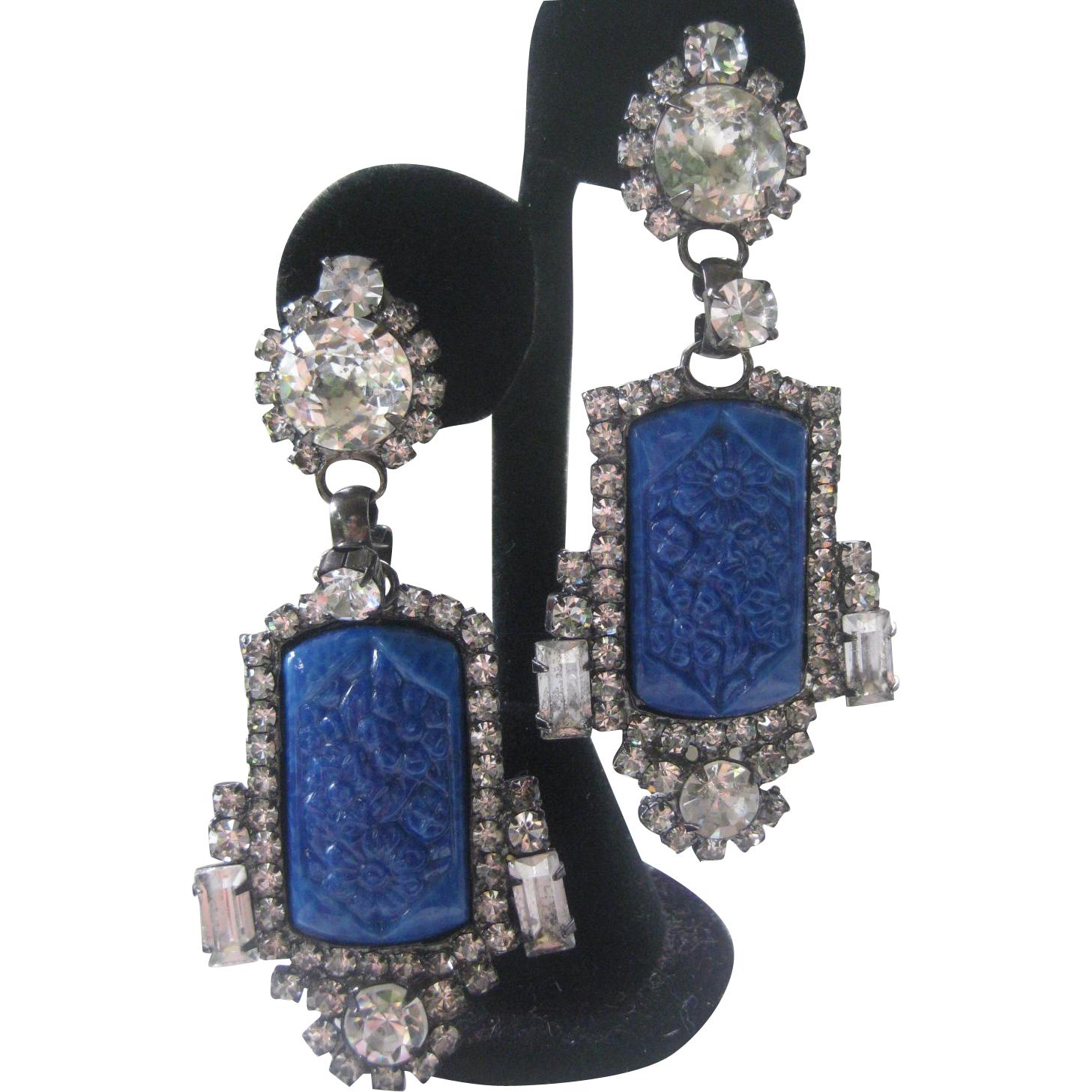 Carved Blue Glass & Rhinestones Large Designer Signed Earrings