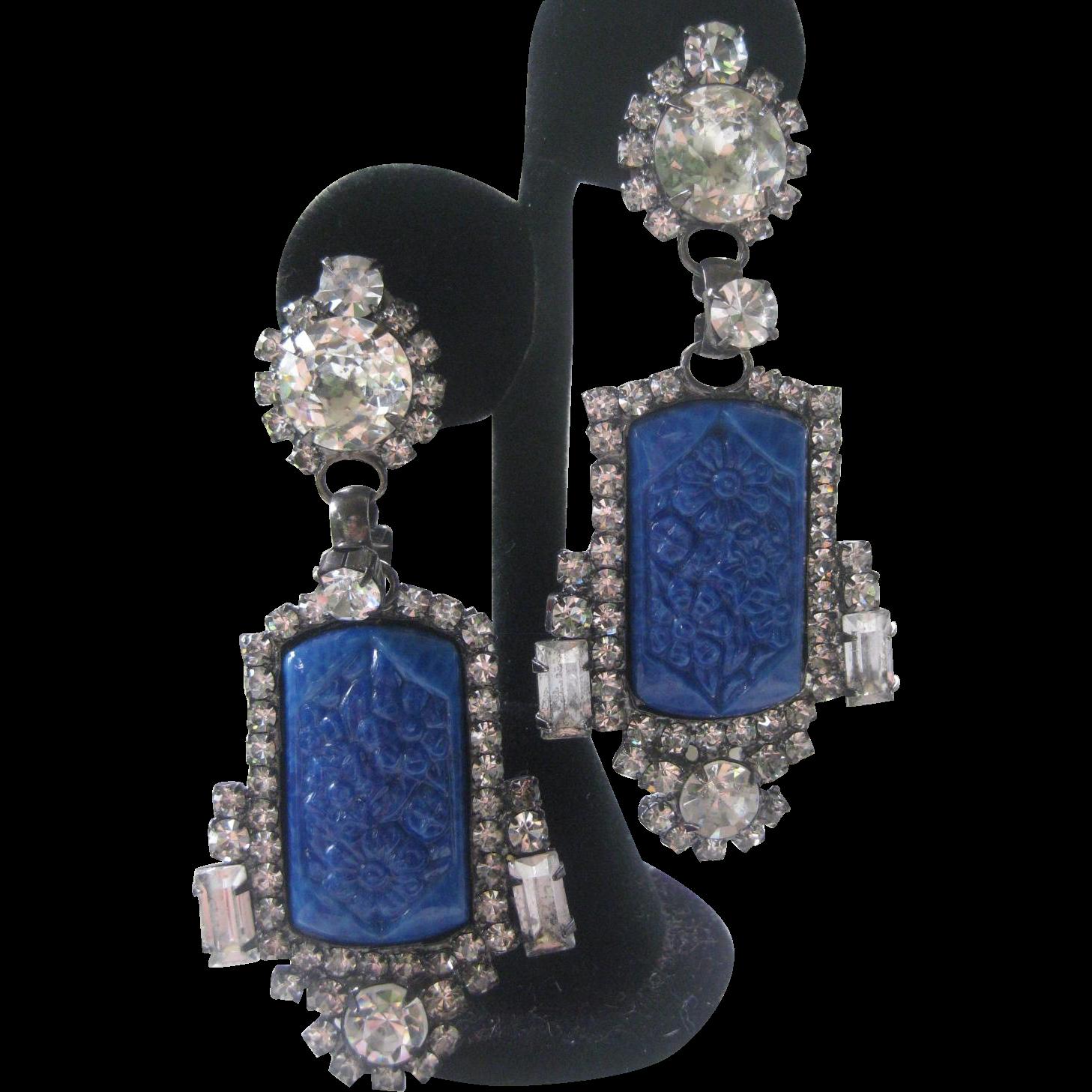 Carved Blue Glass & Rhinestones Large Designer Signed Earrings
