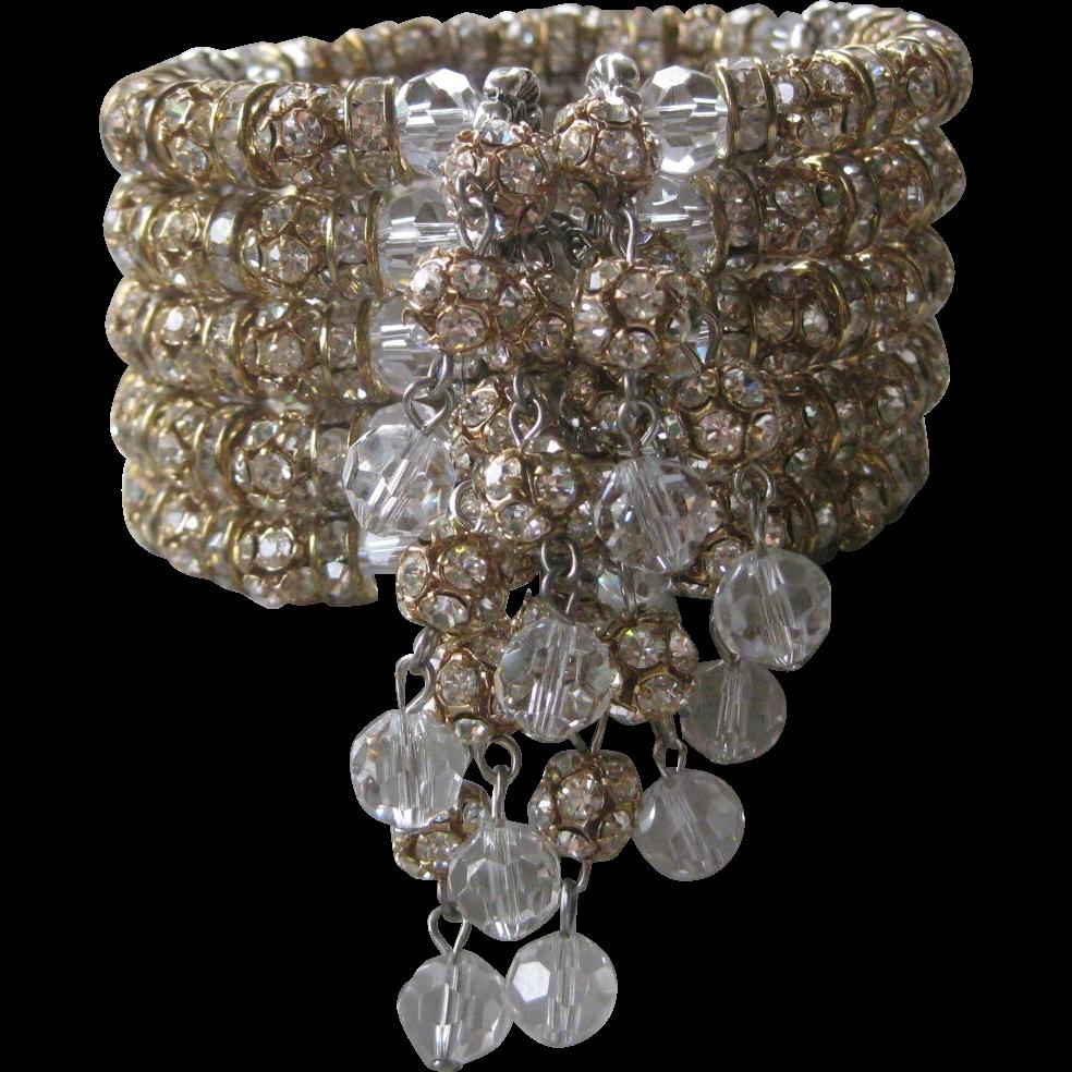 Rhinestone Rondelles & Rhinestone Balls & Dangling Crystals Wide Designer Cuff Bracelet