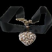 VALENTINO So Pretty Rhinestones & Pearls Heart Pendant On Black Ribbon