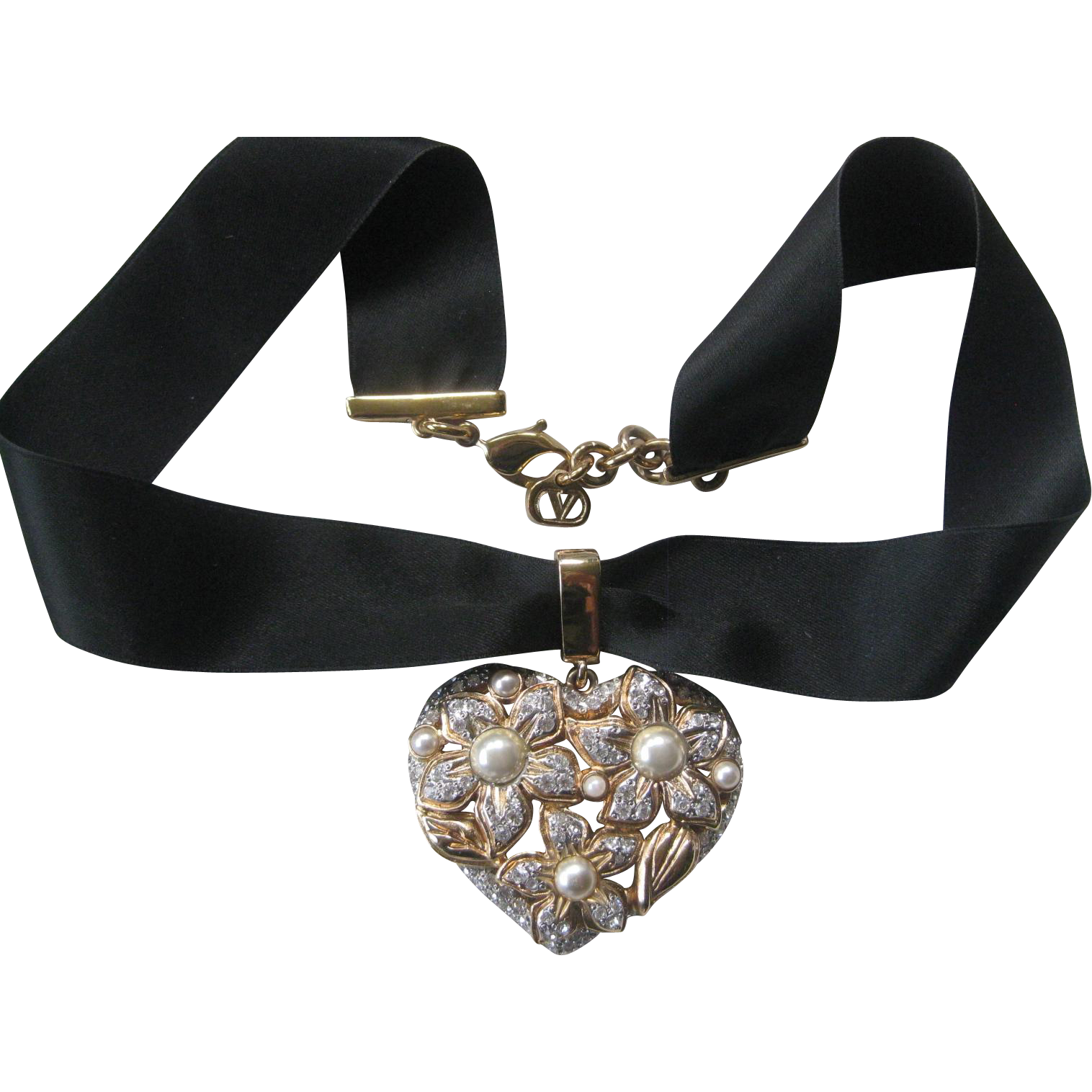 VALENTINO So Pretty Rhinestones & Pearls Heart Pendant On Black Ribbon