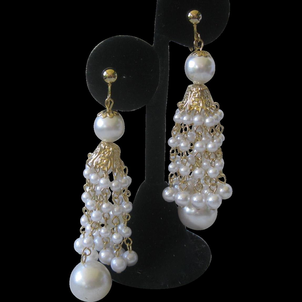 HOBE Large Dangling Pearls Vintage Earrings