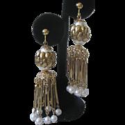 HOBE Long Dangling Waterfall Pearls Earrings