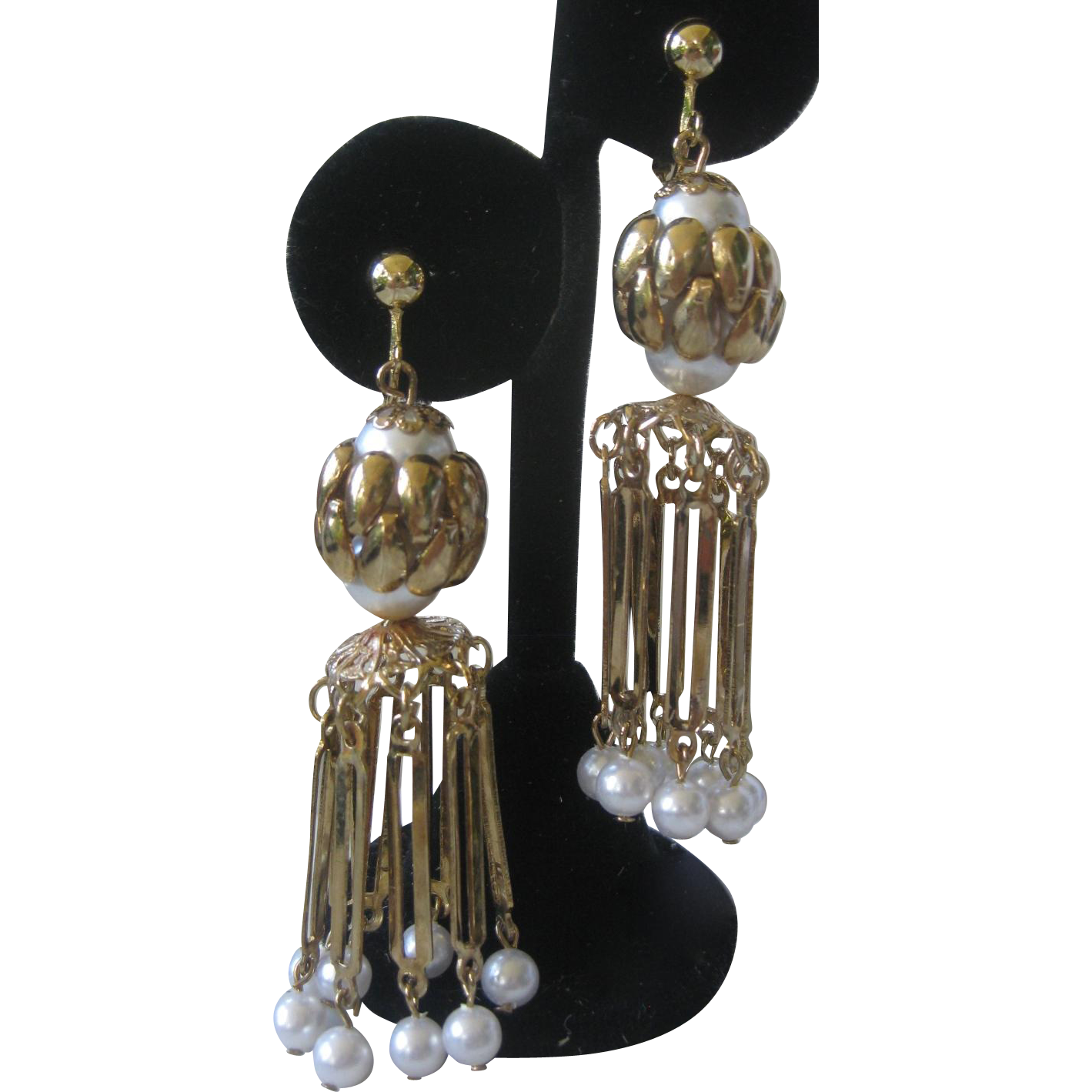 HOBE Long Dangling Waterfall Pearls Earrings