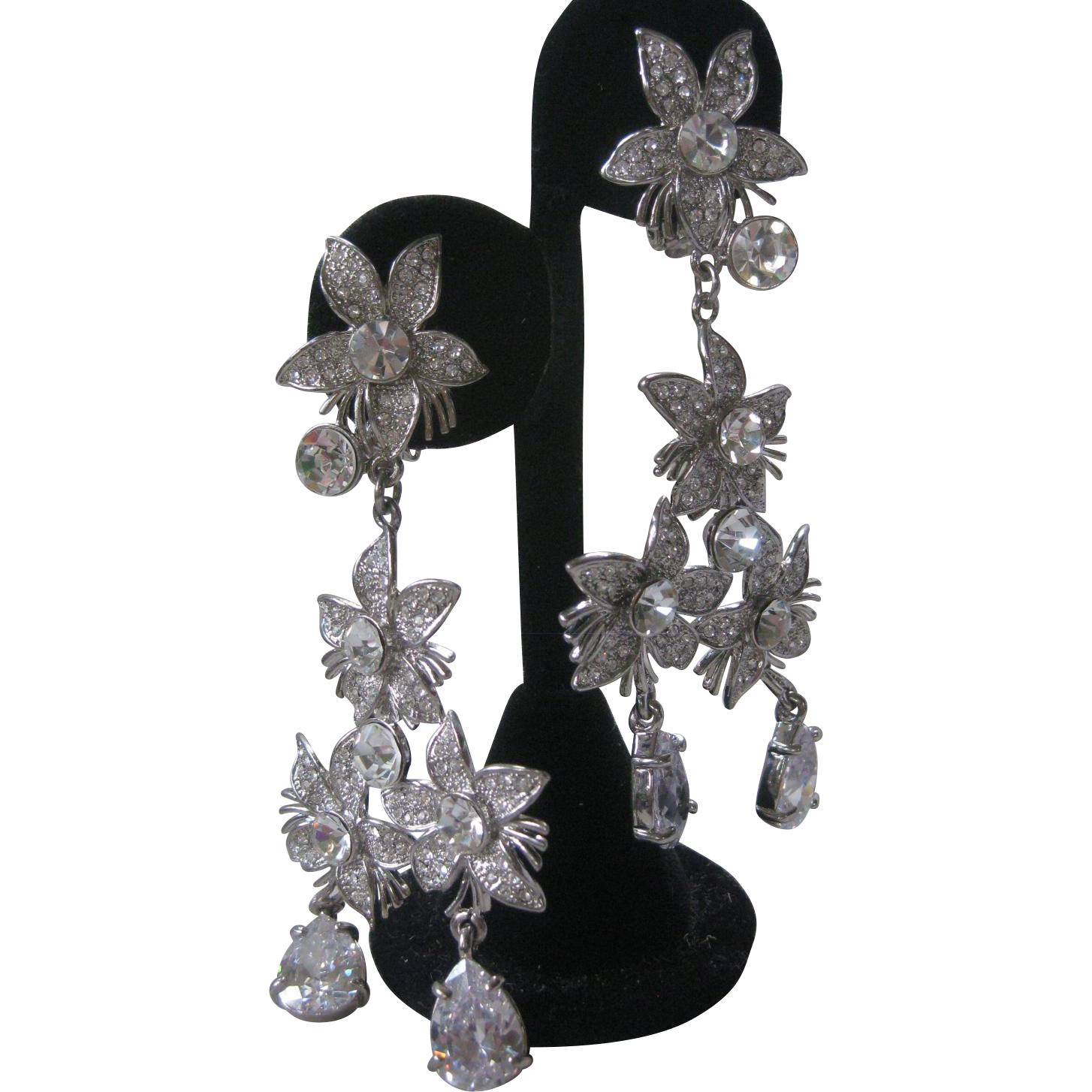 Zillions Of Clear Stones Large Chandelier Vintage Earrings