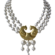 Vintage Glass Pearls & Gold Tone Long Heavy Necklace