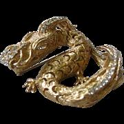 1968 GROSSE GERMANY Huge Rhinestone Golden Dragon Pin