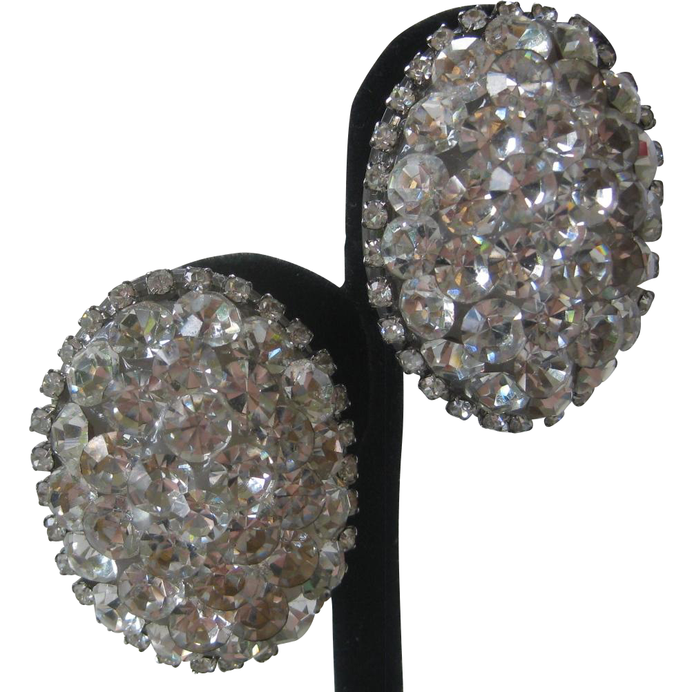 Rhinestone Covered Large Oval Vintage Earrings