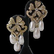 Vintage Beautiful Floral Rhinestones & Dangling Pearl Drops Earrings