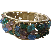 Beautiful Marbled Glass Stones Vintage Bracelet Watch