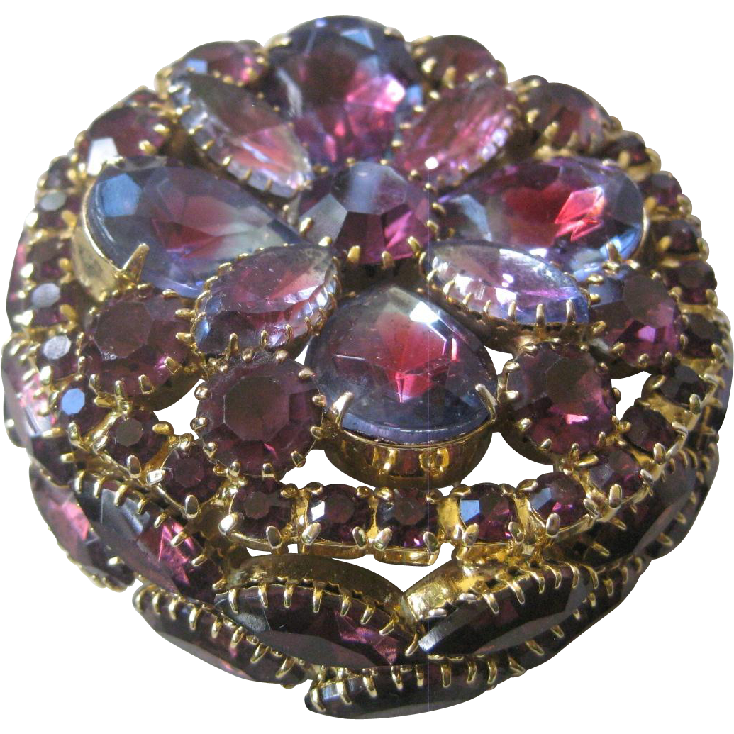 Stunning Vintage Glass Purple Watermelon Stones Cluster Large Pin Brooch