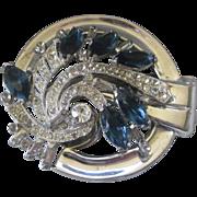 MCCLELLAND BARCLAY Sapphire Blue Glass & Rhinestones Large Vintage Pin Brooch