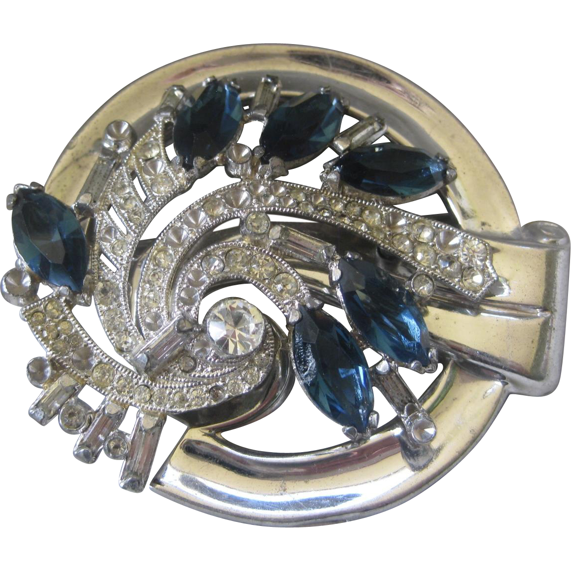 MCCLELLAND BARCLAY Sapphire Blue Glass & Rhinestones Large Vintage Pin Brooch
