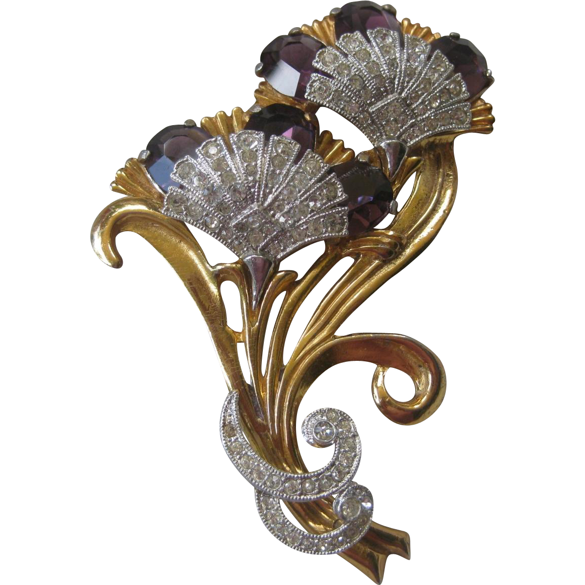 Gorgeous Large Vintage Rhinestone & Purple Glass Pin Brooch