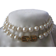 GIVENCHY 1977 Long Strand Heavy Glass Pearls Vintage Necklace