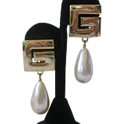 GIVENCHY Logo Pearl Drop Large Vintage Earrings