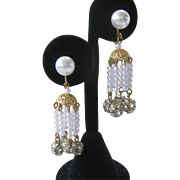 Dangling Pearls & Rhinestone Balls Dangling Vintage Earrings