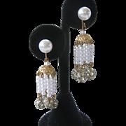 Pearls & Rhinestone Balls Dangling Vintage Earrings