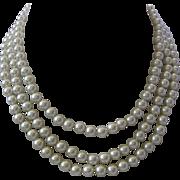 JBK Triple Strand Glass Pearls Necklace