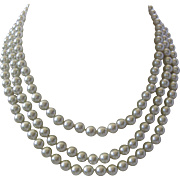 JBK Triple Strand Glass Pearls Necklace