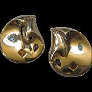 PISCITELLI Beautiful vintage Moderne Goldtone & Stones Earrings