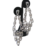 Fabulous Vintage Rhinestone Shoulder Duster Convertible Earrings