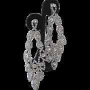 Fabulous Vintage Rhinestone Shoulder Duster Convertible Earrings