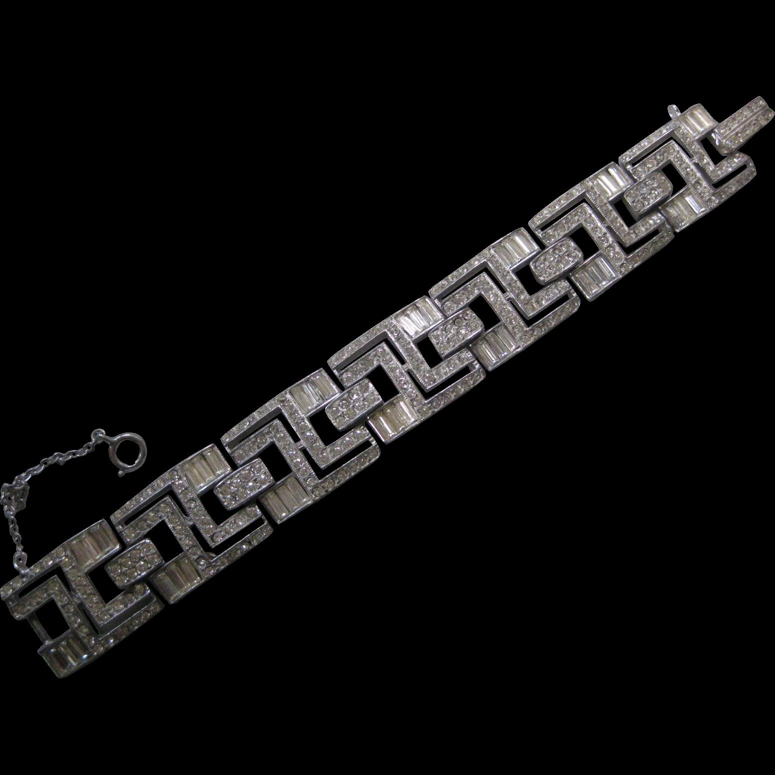 ART DECO French Paste Rhinestone Vintage Bracelet