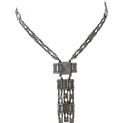 Sterling French Paste Art Deco Long Necklace