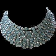 MIRIAM HASKELL 8 Strands Aqua Crystals & Pearls Bib Necklace