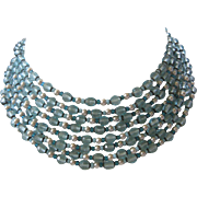 MIRIAM HASKELL 8 Strands Aqua Crystals & Pearls Bib Necklace