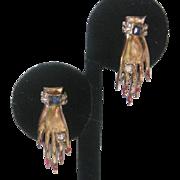 Vintage Manicured Hands and bracelet Rhinestone Earrings