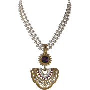 Stunning Heavy Vintage Double Strands Glass Pearls With Large Rhinestone & Pearls Pendant