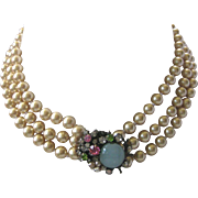 MIRIAM HASKELL 3 Strands Glass Pearls Cluster Catch Necklace Early Signed