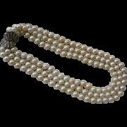 CINER 3 Strand Glass Pearls Enamel & Rhinestones Vintage Necklace