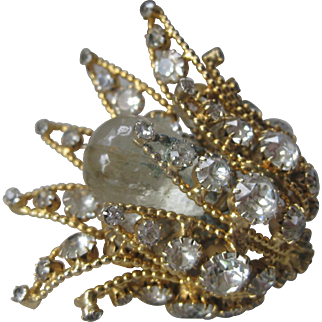 MIMI Di N Large Glass & Stones 3D Flower Pin Brooch
