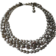 MIRIAM HASKELL 5 Strand Baroque Pearls Vintage Necklace