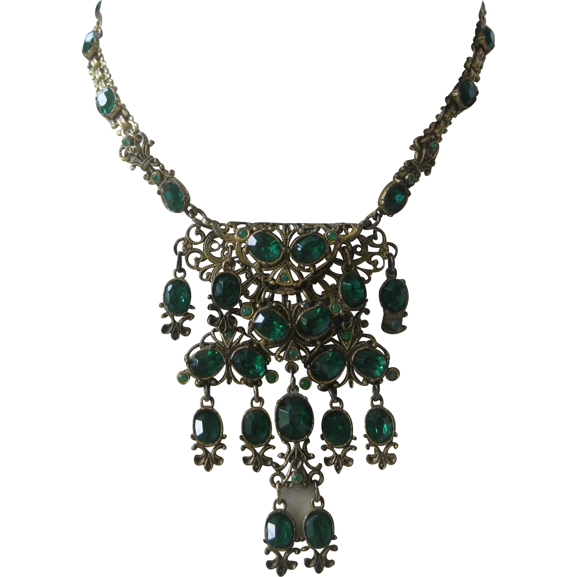 Hungarian Filigree & Green Glass Stones Large Dangling Vintage Necklace