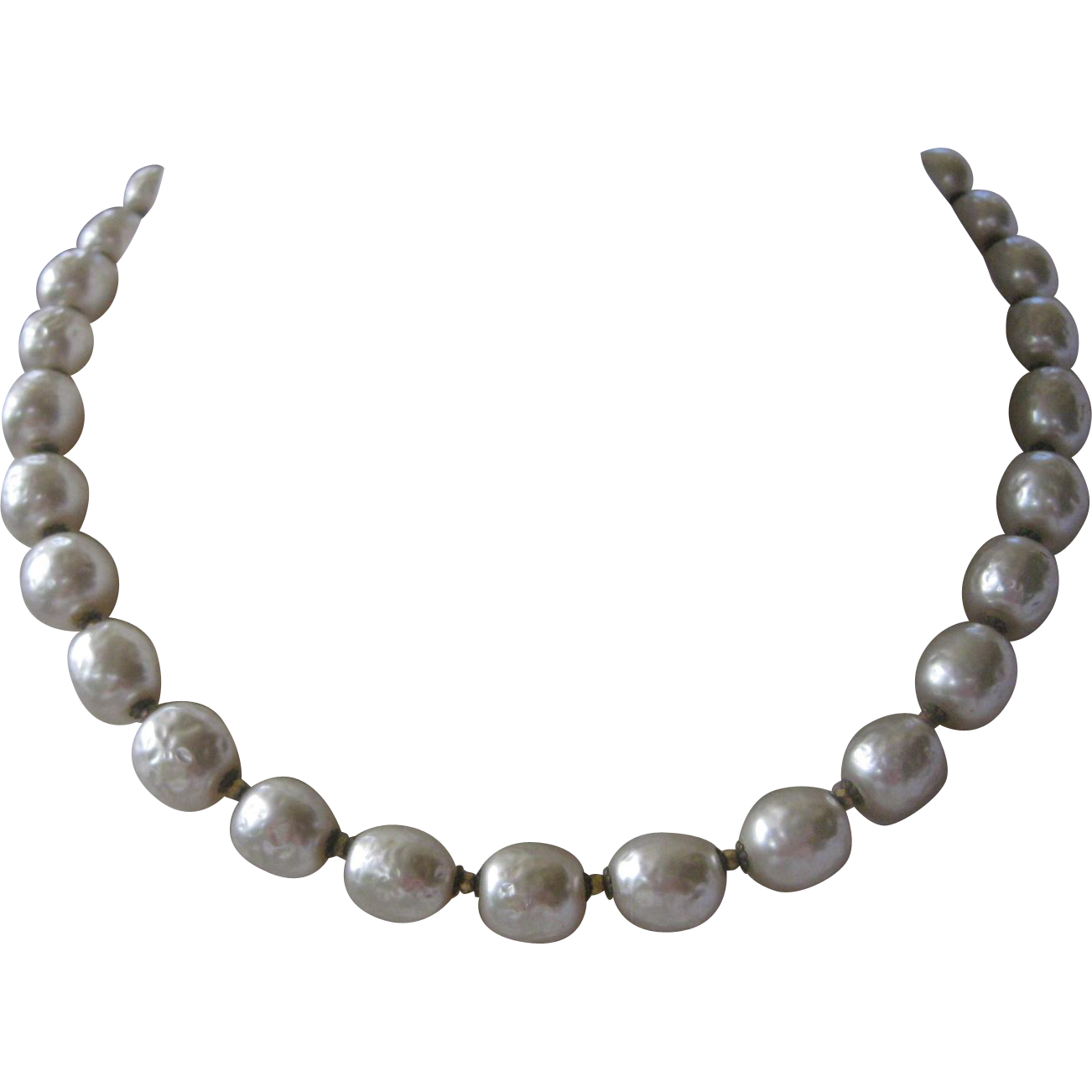 MIRIAM HASKELL Large Glass Baroque Pearls Necklace