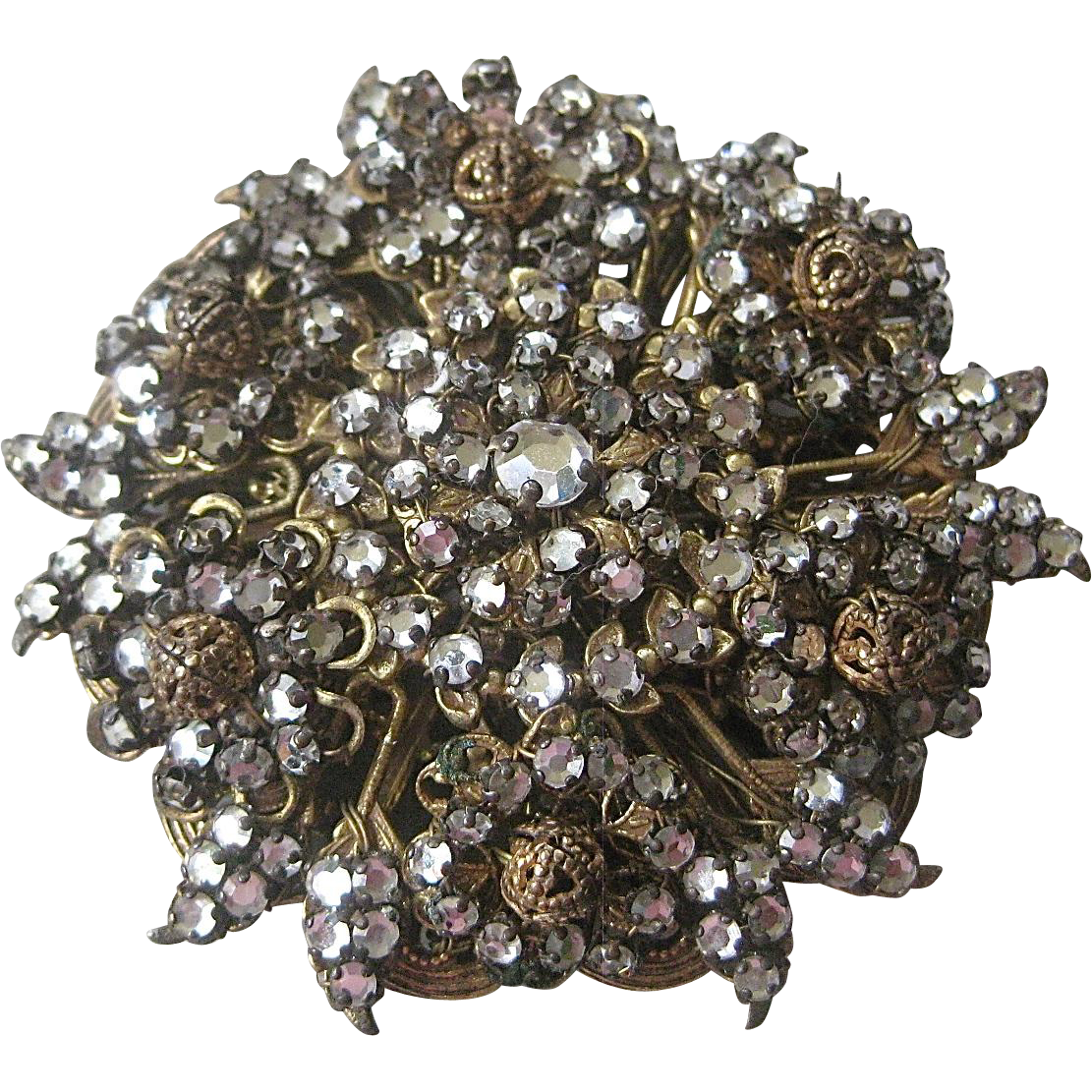 Large Unsigned Miriam Haskell Rhinestone Brooch Pin