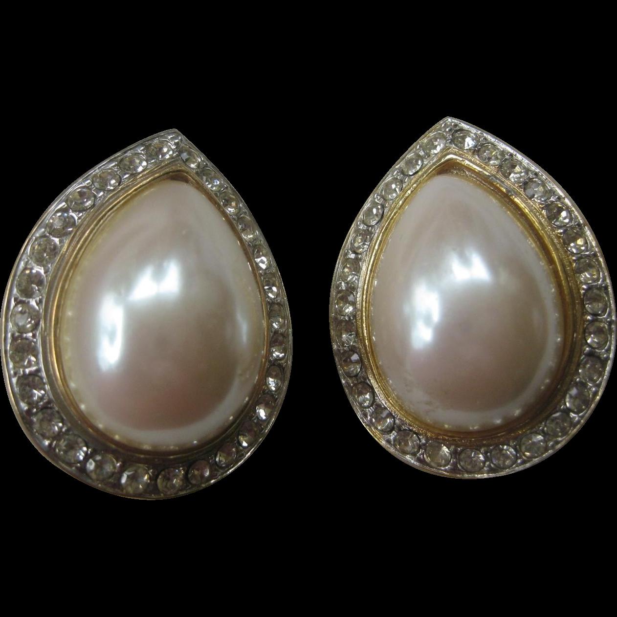 Beautiful Vintage Large Pearl & Rhinestones Earrings