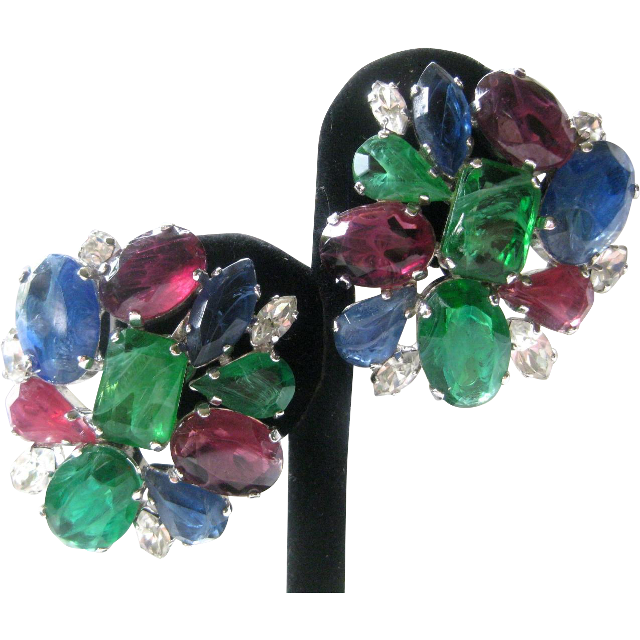 B.E. Cook London Stunning Rare Large Glass Earrings