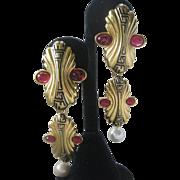 FENDI Rare Vintage Shoulder Duster Enamel & Glass Earrings