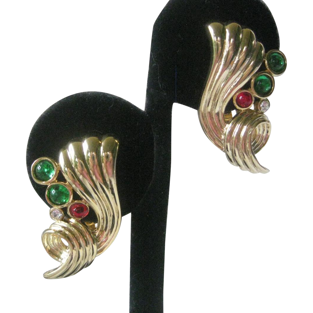 PISCITELLI Vintage Gold & Glass Stones Earrings