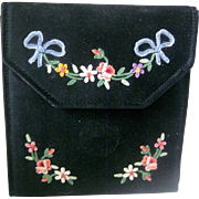 Beautiful Vintage Hand Made French Satin Ladies Embroidered Wallet