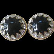 St JOHN Beautiful Jet & Crystals Earrings