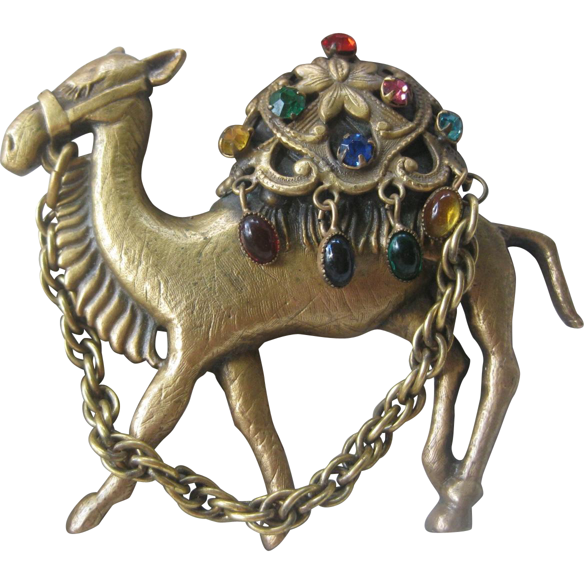JOSEFF Of Hollywood Amazing Large Antique Brass & Glass Stones Camel Pin Brooch